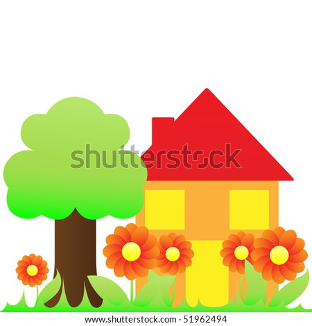 house with garden: flowers and tree
