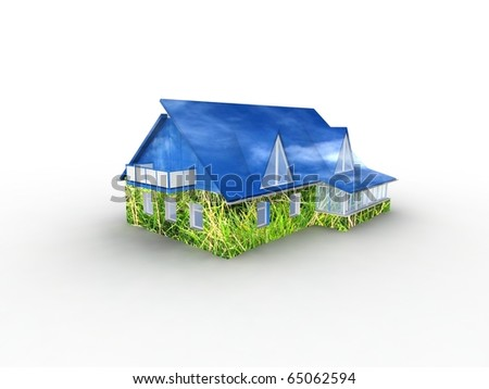 House with grass and sky. Concept - eco house. - stock photo