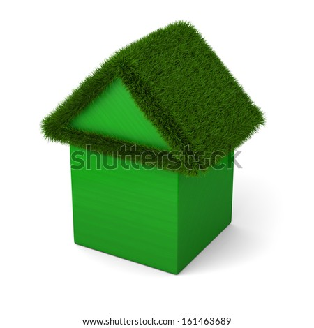 House with green roof made of wooden cubes isolated on white background