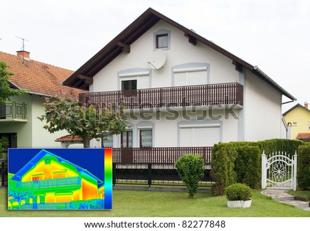 House with Infrared thermovision image showing lack of thermal insulation - stock photo