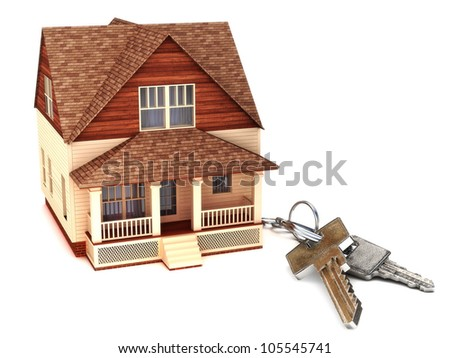 House with keys, home buying,ownership or security concept - stock photo