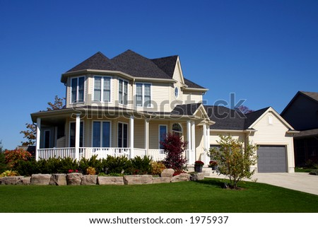 House with Landscaped lawn