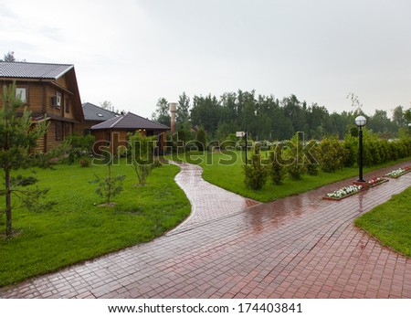 House with lawn - stock photo