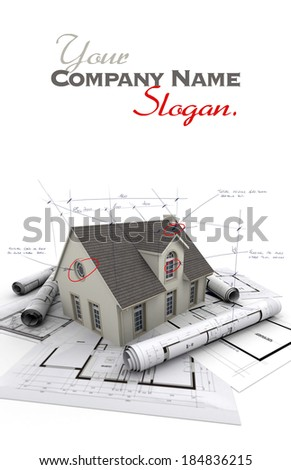 House with notes and measurements and blueprints - stock photo