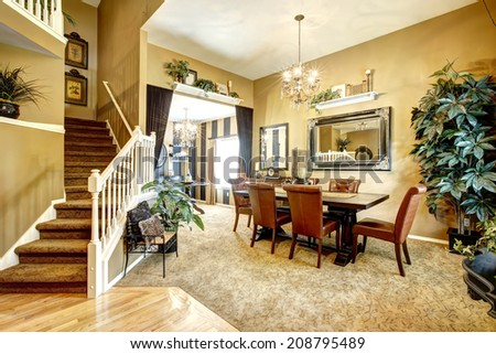 House with open floor plan. View of dining table  and wine tasting area