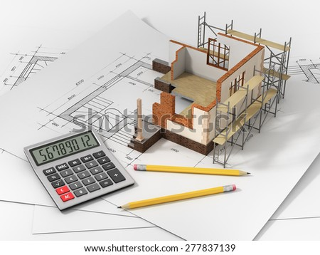 House with open interior on top of blueprints, documents and mortgage calculations. - stock photo