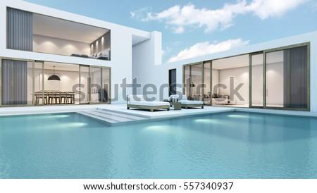 House Pool Design Minimal 3d Render Stock Illustration 557340937 ...