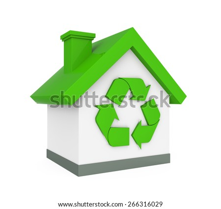 House with Recycle Symbol - stock photo