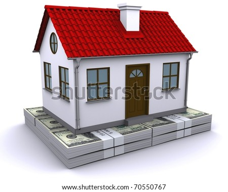 house with red roof on a bundle of dollars - stock photo