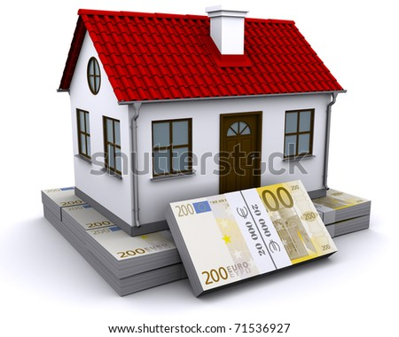 house with red roof on a bundle of euro - stock photo