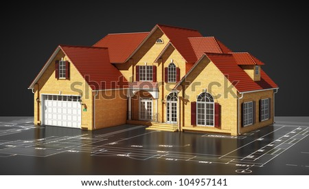 house with reflection and territory plan on a black background - stock photo