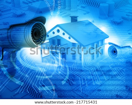 House with  security camera, house protection, CCTV - stock photo