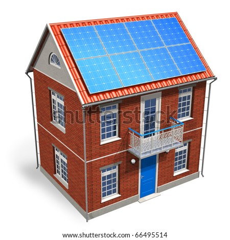 House with solar batteries on the roof - stock photo