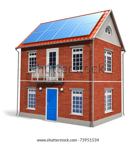 House with solar batteries on the roof
