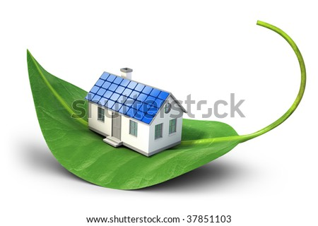 House with solar cells sitting on leaf - Alternative energy concept - stock photo