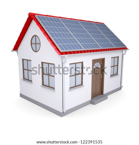 House with solar panels. Isolated render on a white background - stock photo