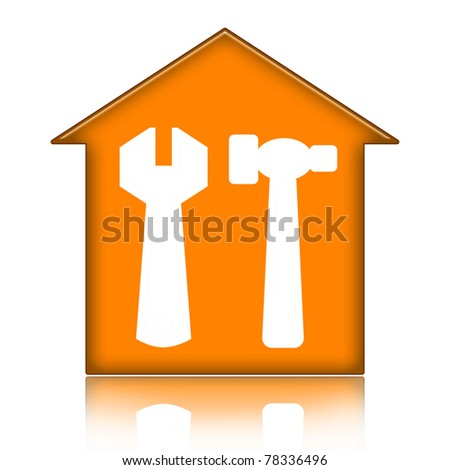 House with tools isolated over white background - stock photo