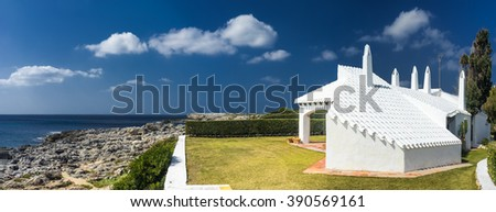 house with traditional architecture in menorca - stock photo