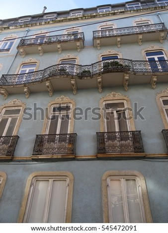 House with traditional tiles in Lisbon Portugal