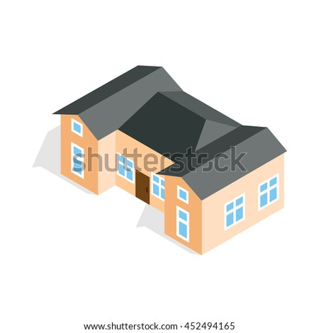 House with two outbuildings icon in isometric 3d style isolated on white background. Construction symbol