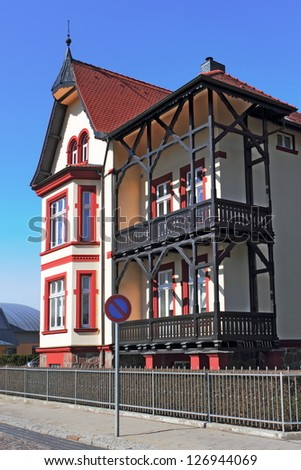 House with wooden deck - stock photo