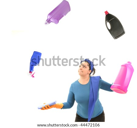 House woman juggling with colorful detergent bottles. White background studio picture. - stock photo