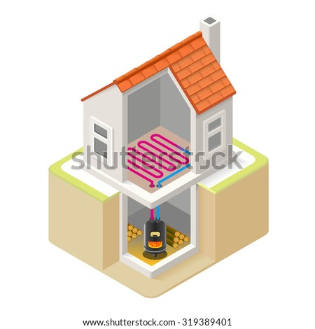 House Wood Boiler Floor Heating Infographic Icon Concept. Isometric 3d Soften Colors Elements. Wood Boiler Heat Providing Chart Scheme Illustration