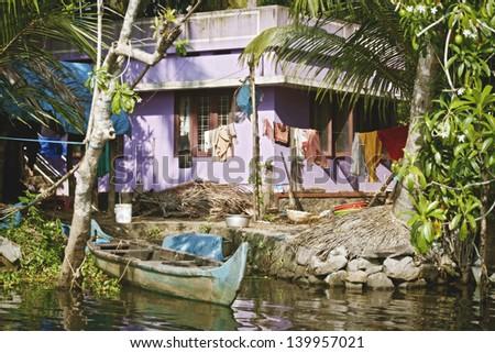 Houseboat in backwater of Kerala , India - stock photo