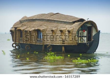 Houseboat on backwaters in Kerala, India