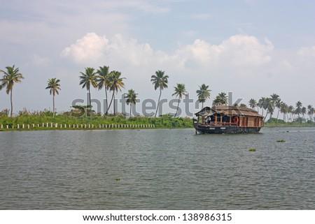 Houseboat taken in backwater of Kerala , India - stock photo