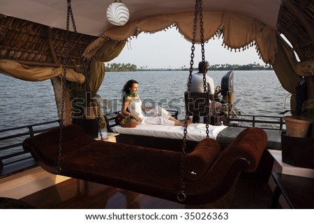 houseboat tour in the backwaters in Kerala state india - stock photo