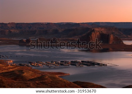 Houseboats in early morning, Lake Powell, Arizona