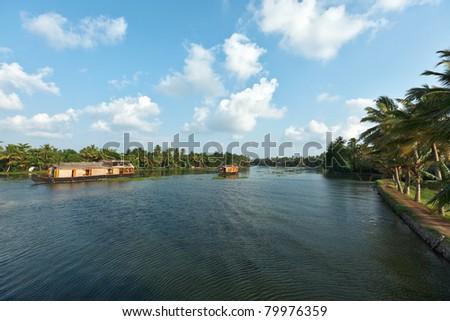 Houseboats on Kerala backwaters. Kerala, India - stock photo