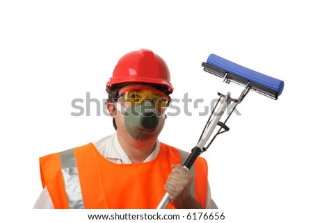 housecleaner in respirator over white isolated - stock photo