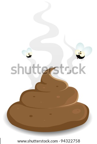 Housefly On A Dung Pooh/ Illustration of comic cartoon houseflies flying around and eating a dog do - stock photo