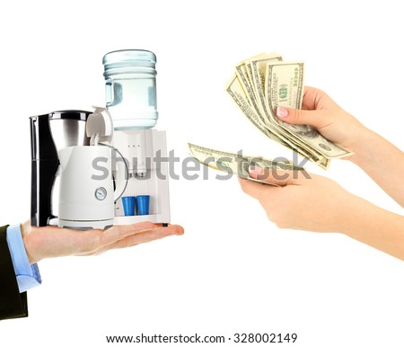 Household appliances  and money on hands- pawnshop concept - stock photo