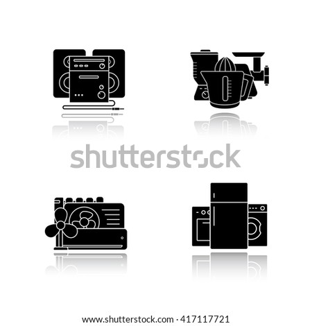 Household appliances drop shadow icons set. Consumer electronics, white goods, kitchenware items, sound system, air conditioning equipment. Cast shadow logo concepts. Raster black illustrations
