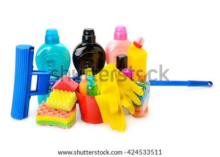 household chemicals, protective gloves and a mop isolated on white background - stock photo