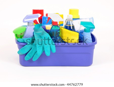 Household cleaning products in a plastic container - stock photo