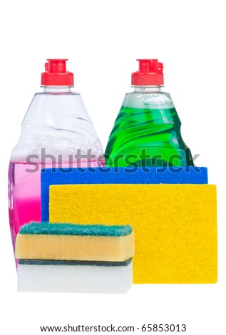 Household cleaning products in bright colors isolated on white with clipping path