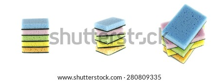 household cleaning sponge for cleaning isolated on white background - stock photo