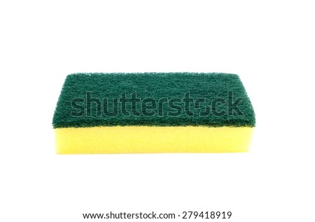 household cleaning sponge isolated on white background - stock photo