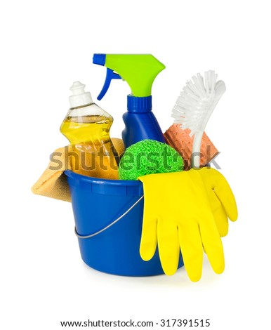 Household cleaning supplies in a bucket. Pure white background, soft shadows.