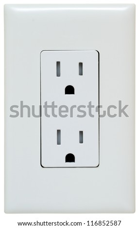 Household Electrical Outlet Isolated On White Stock Photo (Royalty ...
