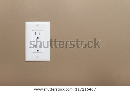 Household Electrical Outlet  on wall. Power 110v - stock photo