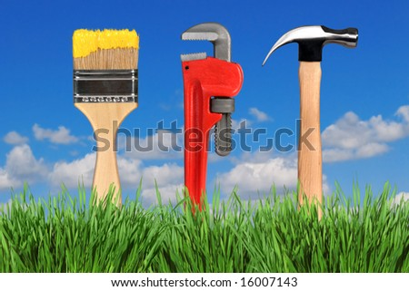 Household Home Improvement Tools in Outdoor Setting: Paintbrush, Pipe Wrench and Hammer