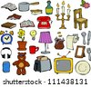 Household items doodle design elements raster version - stock photo