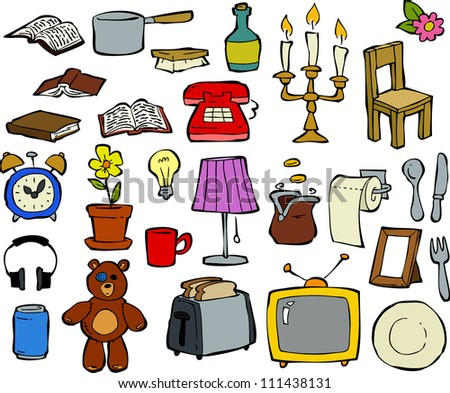 Living room objects furniture and equipment vector illustration - Household Items Stock Images Royalty Free Images