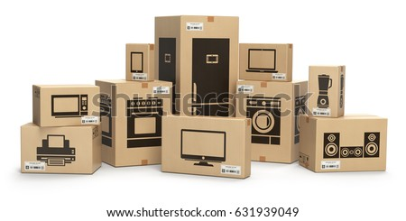 Household Kitchen Appliances And Home Electronics In Boxes Isolated On  White. E Commerce,
