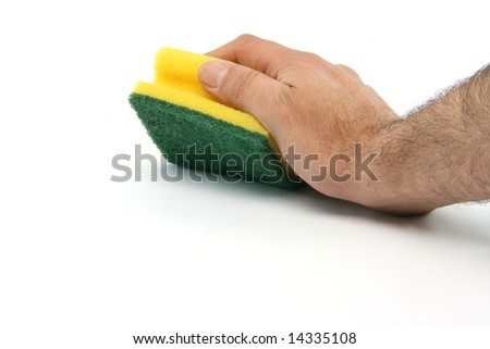 housekeeping and cleaning concepts hand with sponge isolated on white background - stock photo